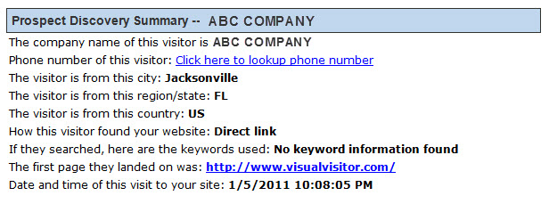 Visual Visitor, Virtual Visitor Prospect Discovery Summary