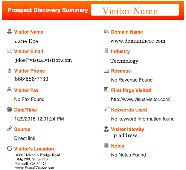 website visitor tracking - visual visitor